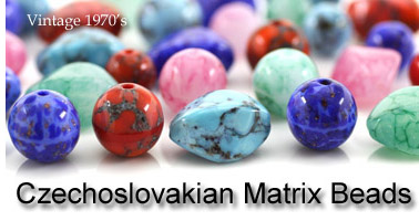 Vintage Czechoslovakian matrix Glass Beads